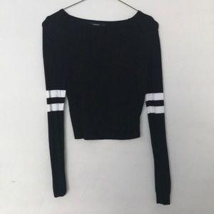 black cropped varsity sweater